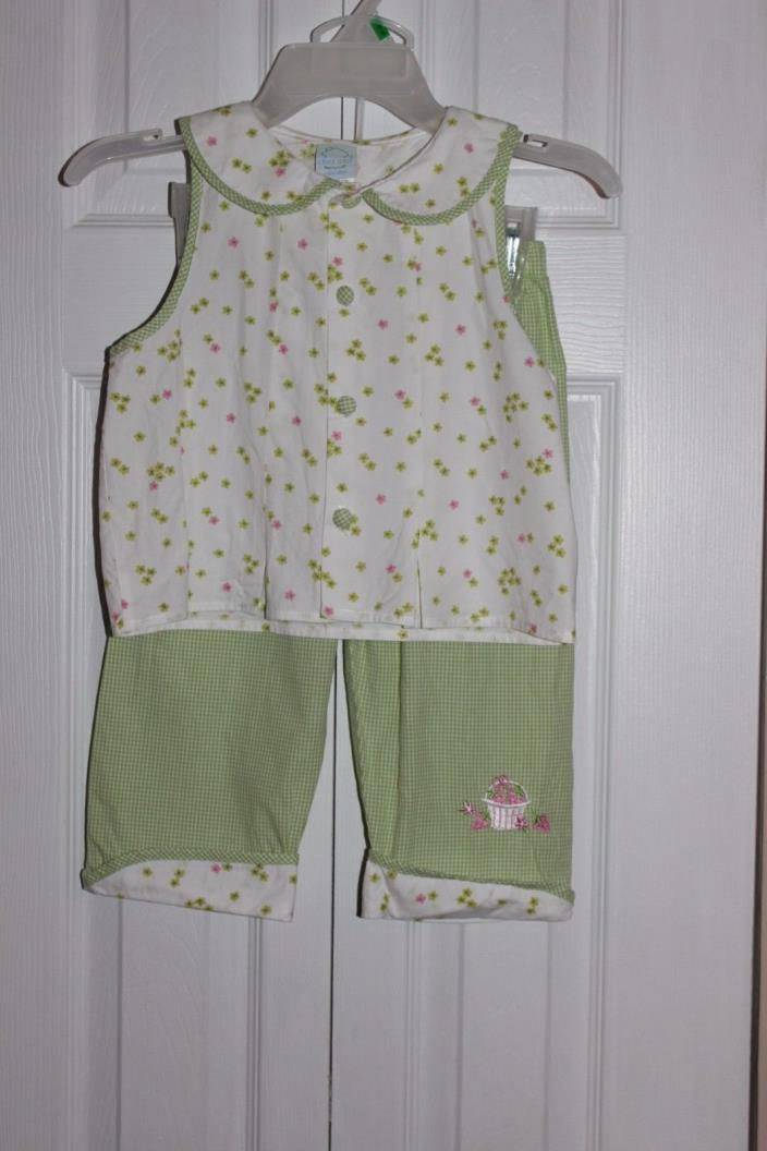 Chez Ami girls 6 two piece outfit sleeveless top & pants with rolled cuff cotton