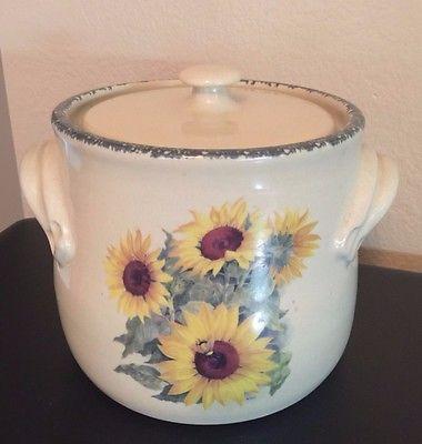 Ceramic Sunflower Crock - Home & Garden Party - EUC