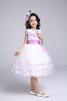 SALE Size 2 Beautiful New Lavender & White Girls Flower Girl Pageant Dress