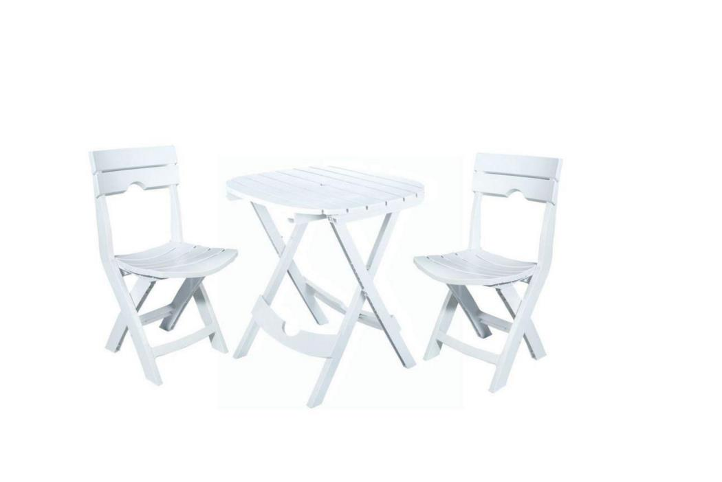 Adams Manufacturing Quik-Fold White 3-Piece Outdoor Patio Cafe Set
