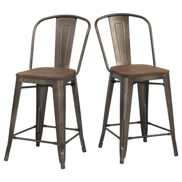 Rustic Bar Stools Set of 2 Industrial Wood Metal Kitchen Counter Height Stool