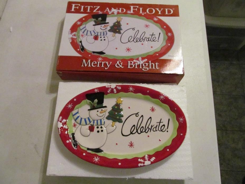 Fitz and Floyd Ceramic Holiday Sentiment Oval Serving Tray Merry & Bright