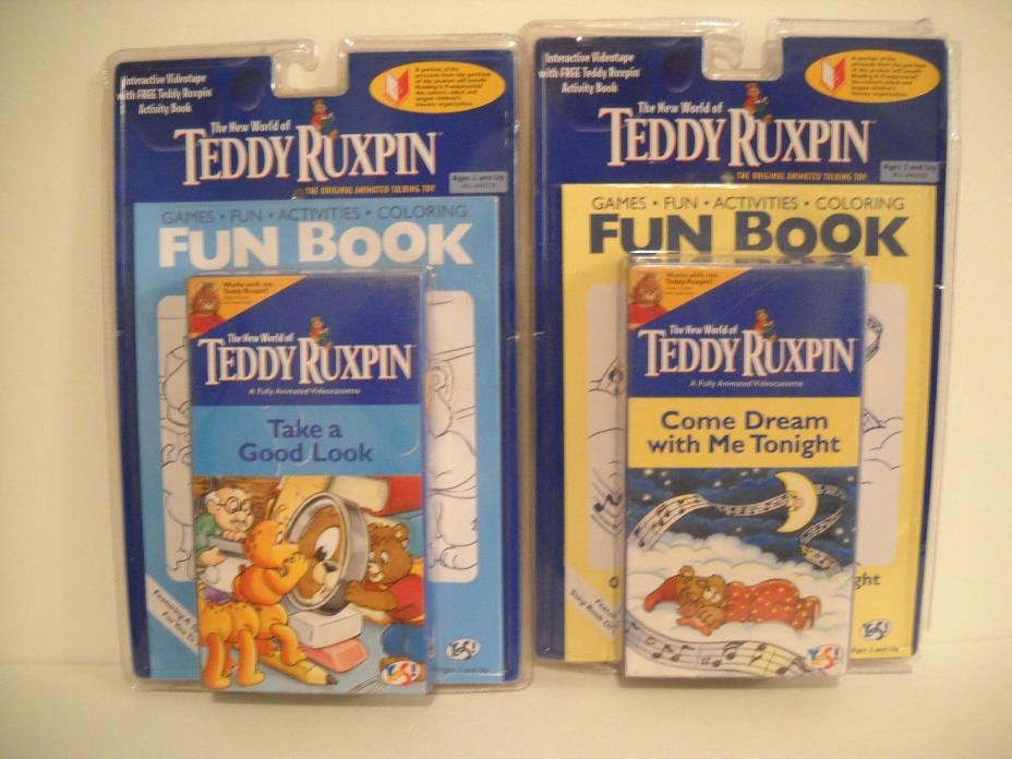 2 Sealed Vintage Teddy Ruxpin VHS Tape with Fun Book Sets