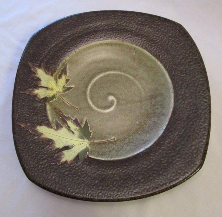 Stunning Studio Pottery Wall Plate Signed by Artist - Mixed Finishes / Leaves