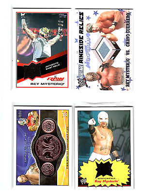 WWE Lot of 4 Rey Mysterio Event Used Shirt & Mat Topps Relic Cards