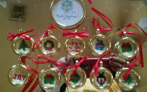 vintage Lot of 11 cross stitch Embroidery handmade Christmas Ornaments sign 1979