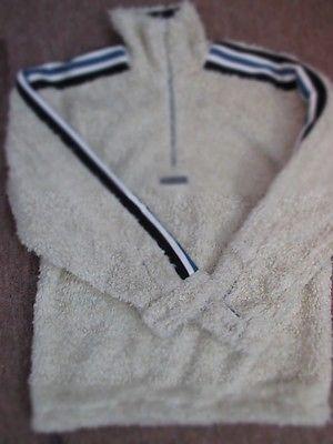 TIRKHE DUNGHA Cream Navy Nubby Texture Half Zip Pullover Jacket Size 14