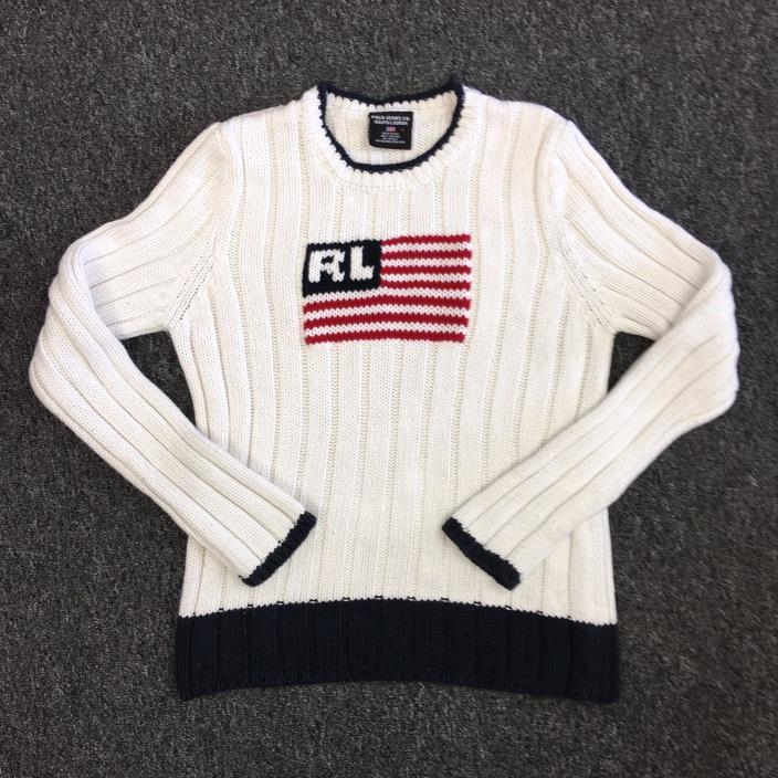 Vtg RALPH LAUREN POLO JEANS CO Flag Knit Cable Sweater (KIDS/WOMEN  L? 23