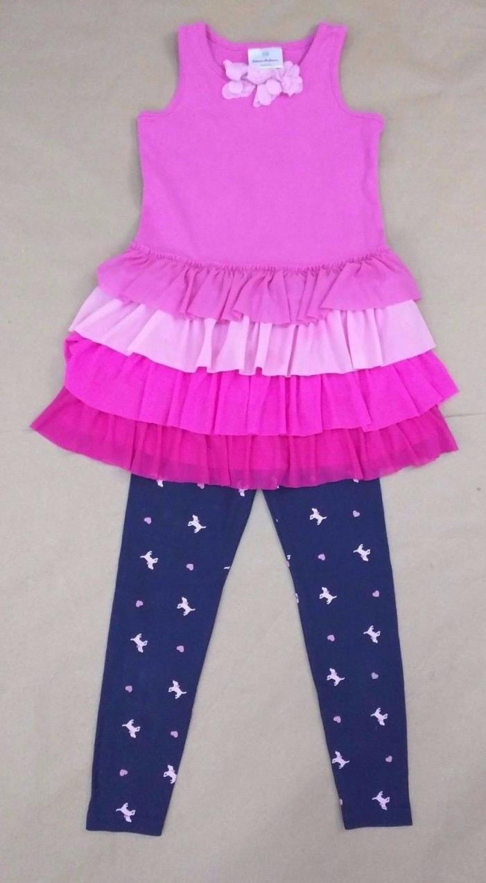 Hanna Andersson GYMBOREE size 6 Outfit - Pink Tiered Dress & Navy Leggings CUTE