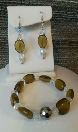 Olive Green and Sparkly Clear Glass Bead Bracelet & Matching Pierced Earring Set