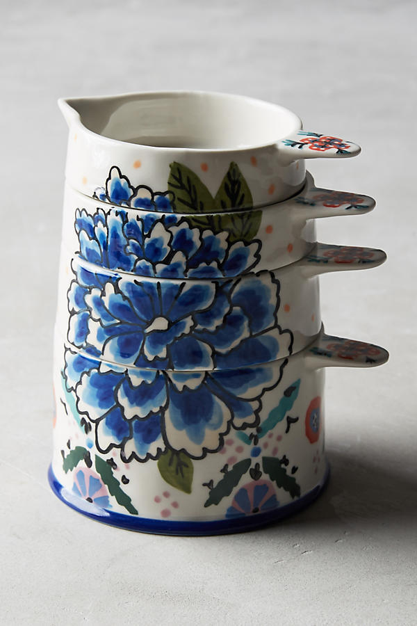 Anthropologie Delphina Stacked Measuring Cups, NIB, Blue Floral