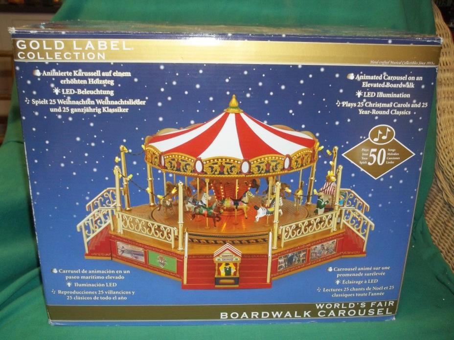 Mr. Christmas Gold Label Collection World's Fair Boardwalk Animated Carousel