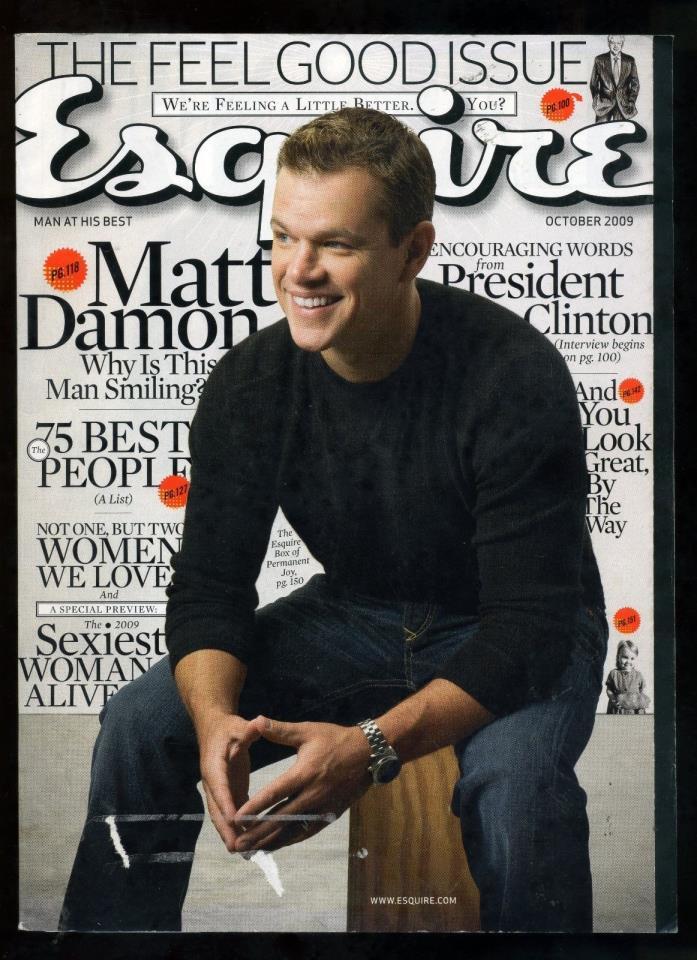 MATT DAMON Esquire magazine Oct 2009 RARE President Bill Clinton/MALIN ACKERMAN
