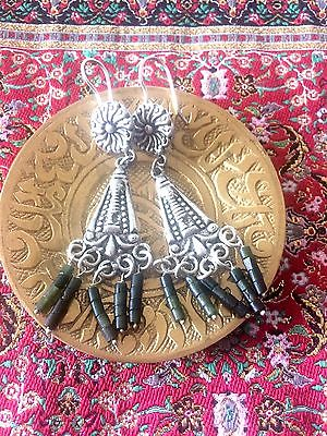 Silver And Jade Earrings Hand Carved Antique Look