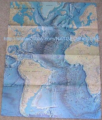 National Geographic MAP of ATLANTIC OCEAN / Atlantic Ocean Floor JUNE 1968