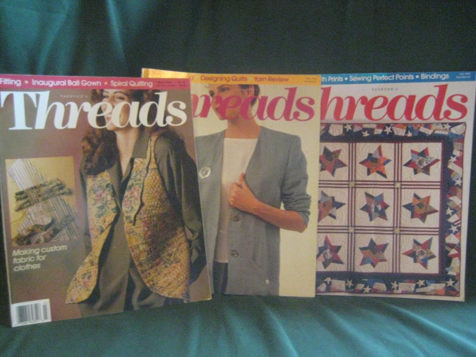 THREADS magazine vtg back issue LOT P 1994 #51 52 53 couture sewing needlework