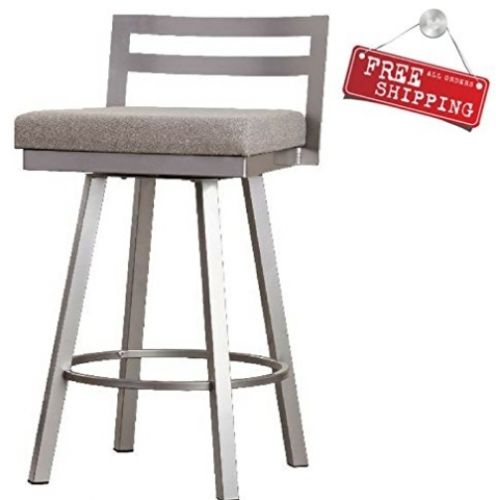 Swivel Backed Bar Stool Counter Height Upholstered Metal Padded Home Kitchen