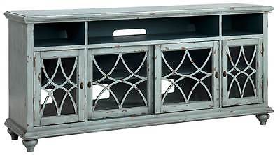 72 in. Media Console in Distressed Pale Blue and Gray Finish [ID 3484462]