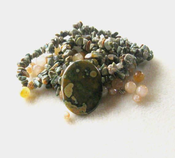 Rhyolite Pendant and Beads, Jade Beads, DIY Jewelry Kit, Chip Beads,