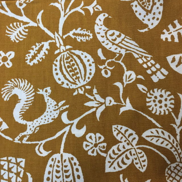 DAVID & DASH New Old Stock 11.5 Yards Fabric BIRD SONG Amber/Ivory MID-CENTURY
