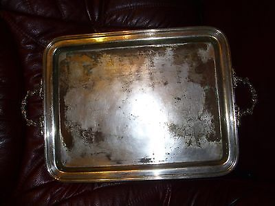 ANTIQUE (1775-1880) FRAGET SILVER-PLATED TRAY POLAND-RUSSIAN IMPERIAL