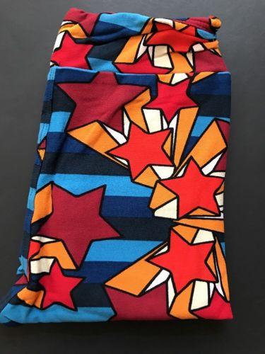 LuLaroe Kids L/XL Wonder Woman Fourth Of July Stars Leggings Patriotic