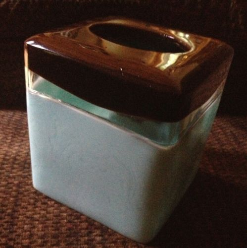 Tissue Box Cover ~ Cube Kleenex Box Holder ~ Blue Brown Clear
