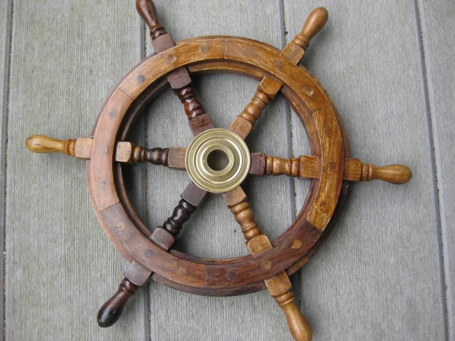 15 inch Sheesham Wood Nautical Ship Wheel with Antique Brass Hub..Collectable.