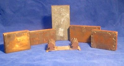 Copper Printing Press Stamps Back Etched NJ, Philly Map, Lot of 6 Antique