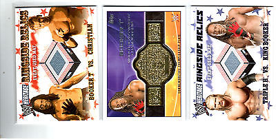 WWE Lot of 3 Booker T Event Used Mat & Belt Topps Relic Cards