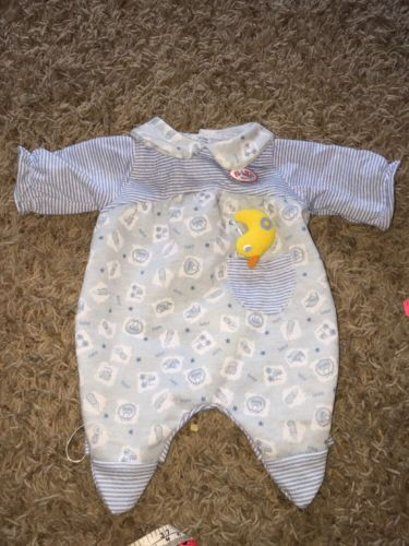 ZAPF CREATION BABY BORN Blue One Piece Outfit With Duck