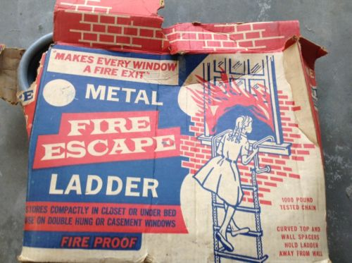 Vintage 15 ft all Metal Folding Window Fire Escape Ladder