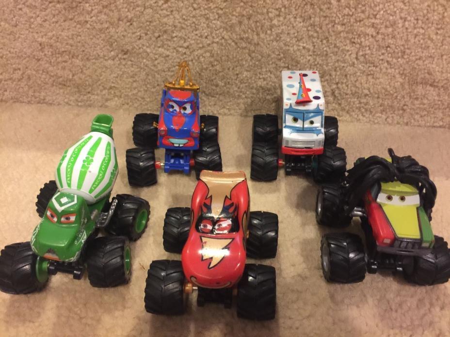 Disney Pixar Cars Toon Mater Monster 5 Truck Set Used