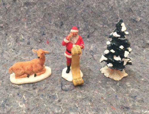 Lot Of 3 Lemax Village Figurines Santa Deer And Christmas Tree