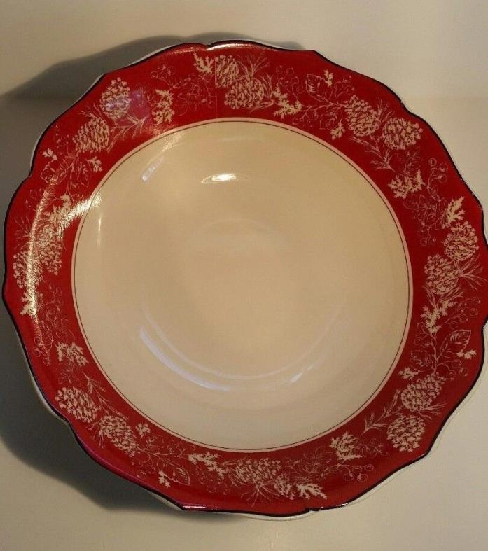 222 Fifth Andover Pine Cone Serving Bowl Red and White Scroll Edge