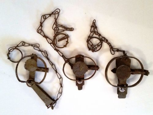 3 Vintage traps. #0 long spring, #0 and #1 Jump traps. Collectible traps.  C101