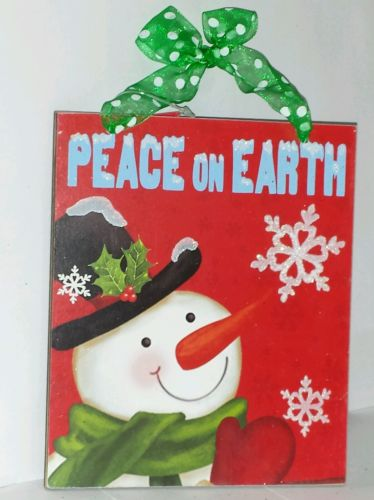 Christmas Holiday Snowman Wall Hanging Sign Plaque Decor  New