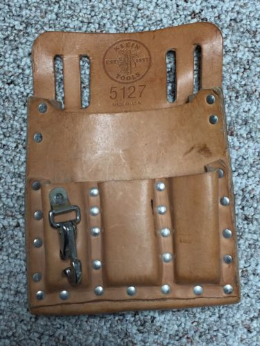 Used Klein Tools Lineman 5127 6-pocket Leather Tool Pouch