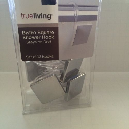 Shower Curtain Hooks Modern Bathroom Plastic Mirror Tile Bistro Square Contemp