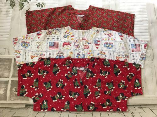 Lot of 3 Women's Handmade Scrub Tops Christmas prints Size XL