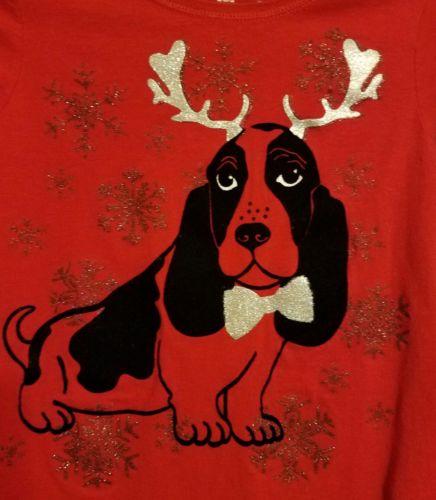 Hanes Christmas holiday red dog reindeer  girls shirt large