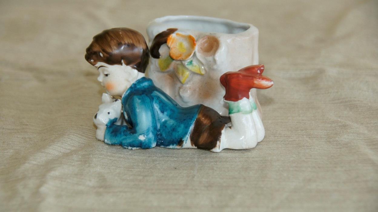 Vintage Occupied Japan porcelain hand painted toothpick holder