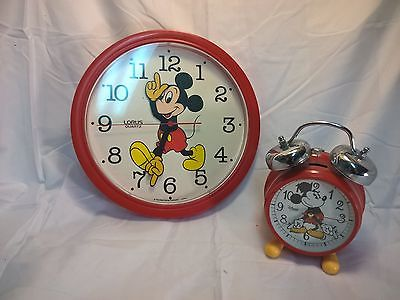 Mickey mouse alarm clock and wall clock
