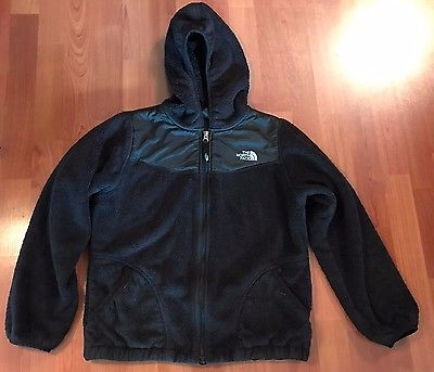 North Face Fleece Black Jacket with Hood - Youth L (14-16)