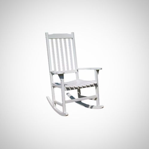 Shabby Chic White Rocking Chair Wooden Acacia Indoor Outdoor Furniture Balcony