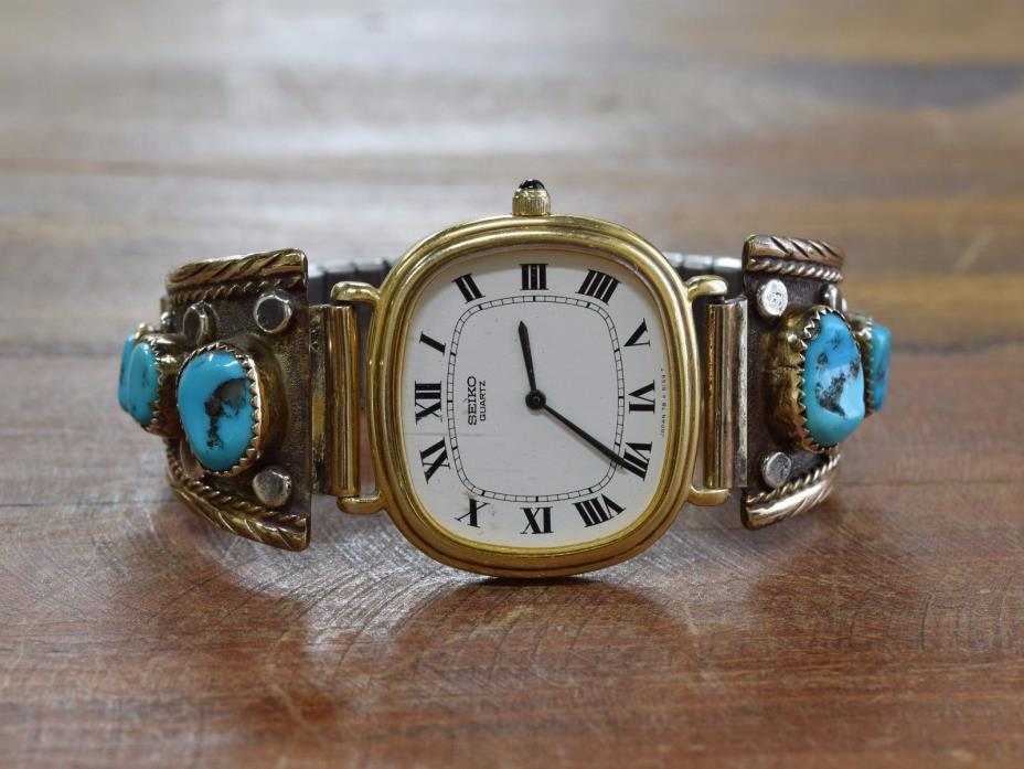 Vintage Navajo Turquoise Sterling Silver and Gold Fill Watch Tips