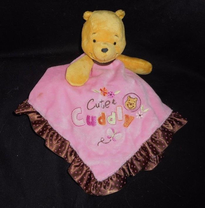 DISNEY BABY WINNIE POOH CUTE & CUDDLY PINK SECURITY BLANKET RATTLE PLUSH SOFT