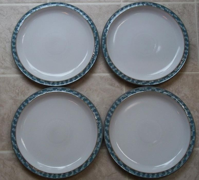 SET OF 4   DENBY  AZURE SHELL   DINNER  PLATES    10 1/2  INCHES ACROSS THE TOP