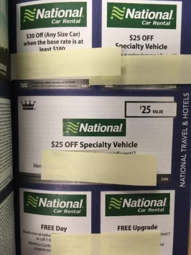 5 National-Car-Rental-Coupons $30off Any Size, Etc