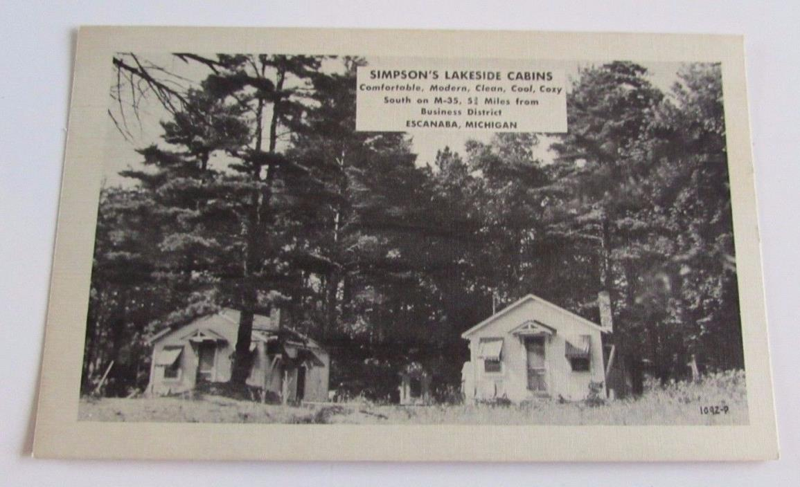 Vtg Escanaba Michigan Simpson's Lakeside Cabins Postcard